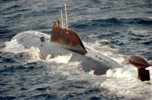 A port quarter aerial view of the Russian Northern Fleet AKULA class nuclear-powered attack submarine underway on the surface.