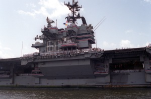 A starboard side view of the aircraft carrier USS SARATOGA (CV-60) as the ship enters the turning basin at Naval Station Mayport upon completion  of her final cruise,  a six month deployment to the Mediterranean.  The SARATOGA is scheduled to be decommissioned on August 20, 1994  after more than 38 years of service.